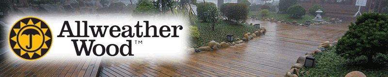 Banner Allweather Wood. Logo over decking photo.