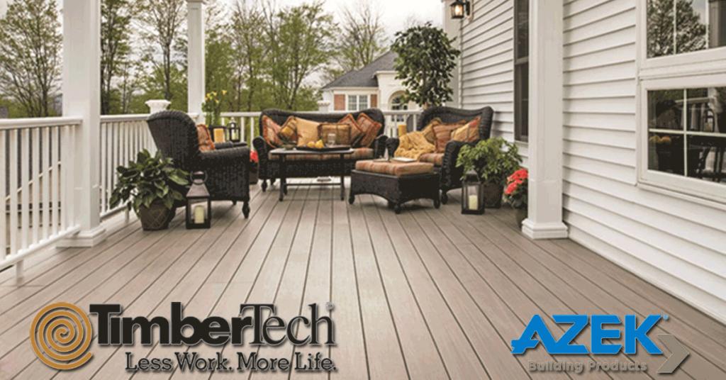 Timber Tech and Azek Logos over a large composite pvc deck