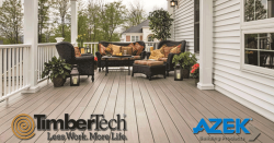 Timber Tech and Azek Logos over a large composite pvc deck