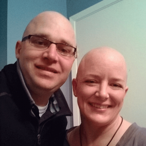 denise and kelly with shaved heads