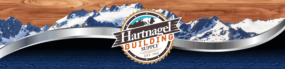 Hartnagel Building Supply Logo with Mountains in the background