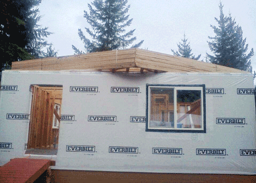 House Wrap, Trusses and Window Install
