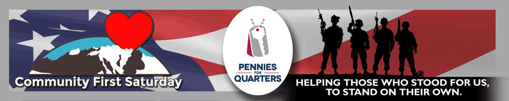 Pennies for Quarters logo and soldiers with US flag behind