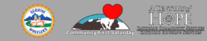 Sequim Wheelers, Community First Saturday, Catholic Community Services Logos