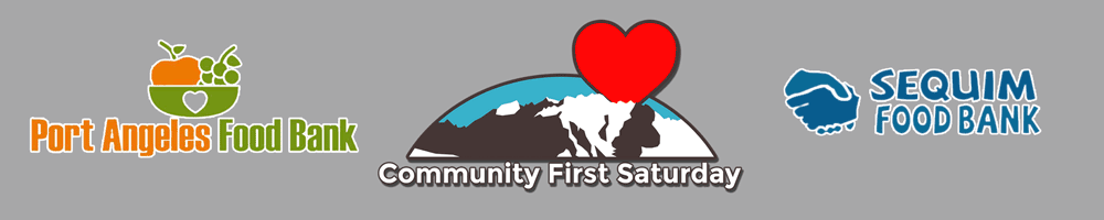 Port Angeles Food Bank Sequim Food Bank and Community First Saturday Logos