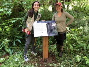 The finished product - four such signs border a trail at the Lyre River conservation area.