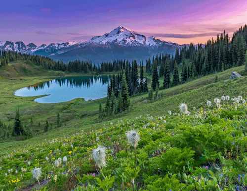 Image Lake Sunset Glacier Peak Wilderness, WA By Becky Stinnett