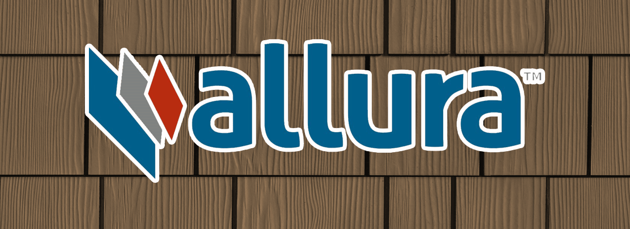 Allura siding logo with fiber cement shingled siding in the background