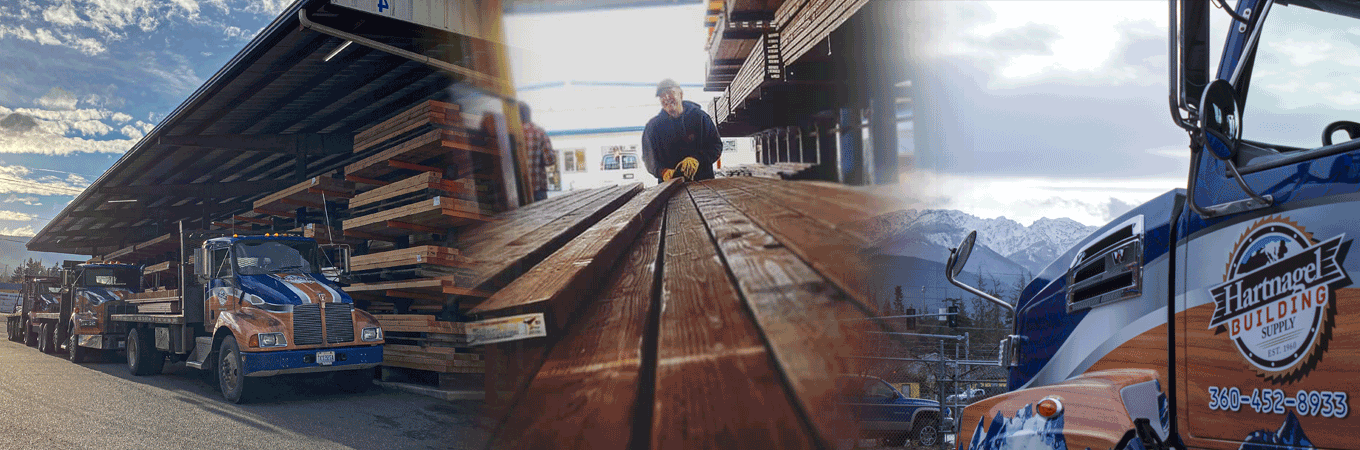 Delivery Trucks in a lumberyard and a man sorting treated lumber