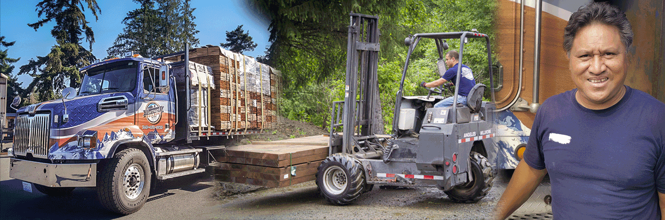 Delivery truck loaded with cedar shingles and a forklift delivering lumber and a delivery drive smiling