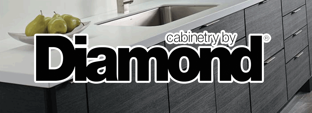 Diamond cabinetry logo and image of kitchen cabinets