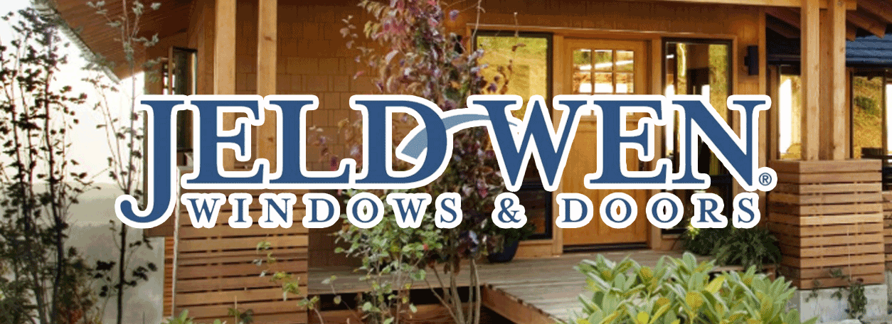 Jeld-wen logo and exterior of a home