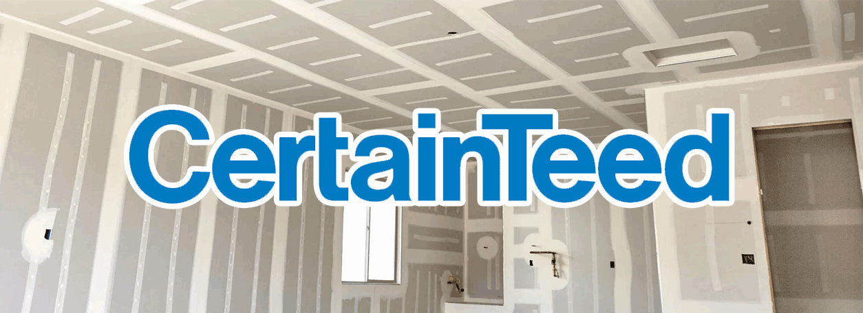 CertainTeed Logo with drywalled home in the background