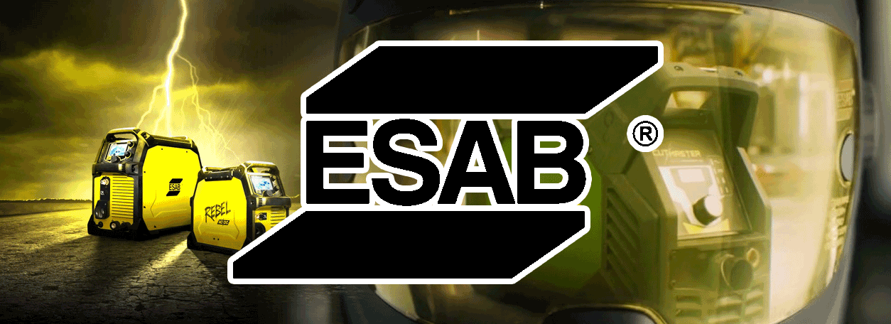 ESAB logo with welding mask and welder in the background