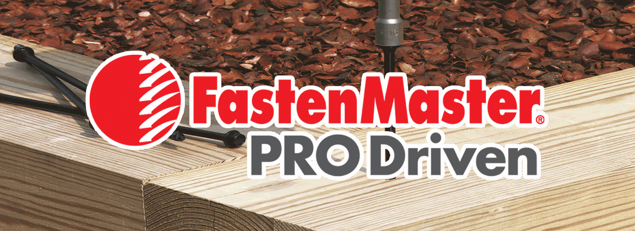 FastenMaster fasteners logo with a screw being driven into wood