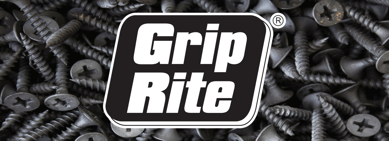 Grip Rite Logo with screws in thebackground