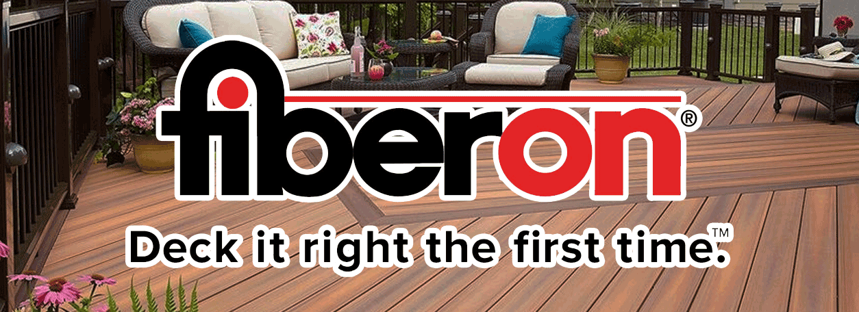 Fiberone logo and outdoor deck