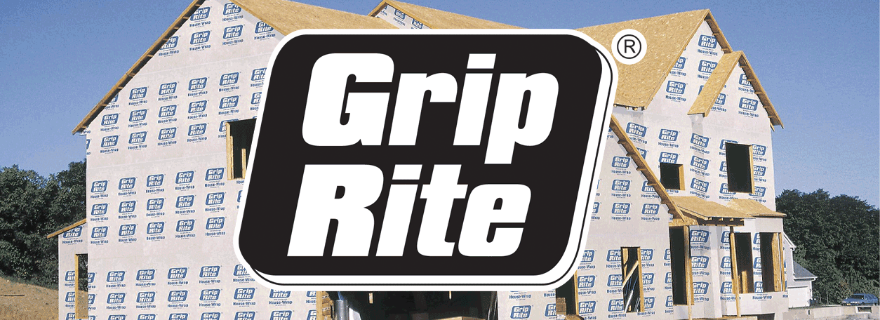 Grip Rite logo with house wrapped home in the background