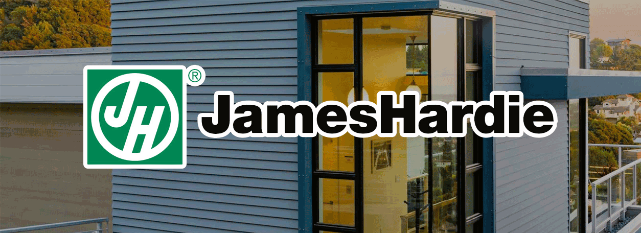 James Hardie logo with fiber cement sided contemporary house in the background