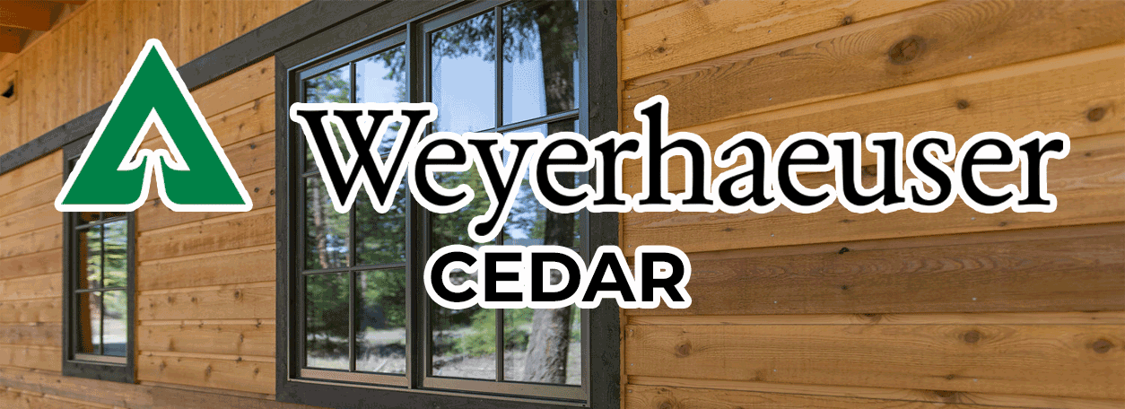 Weyerhaeuser Logo with cedar sided house in background