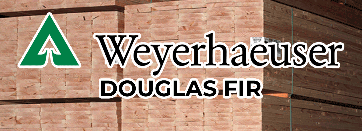 Weyerhaeuser Logo with stack of lumber in background