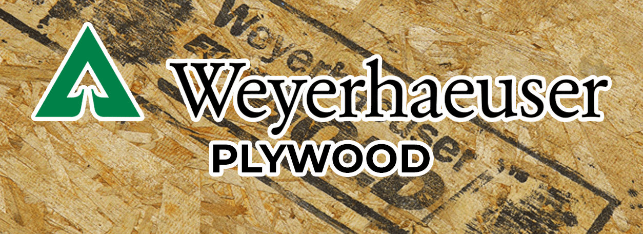 Weyerhaeuser Logo with plywood in background
