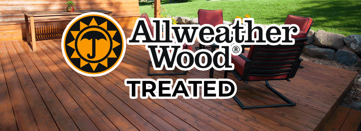 AllWeather Wood Logo with a treated deck in the background