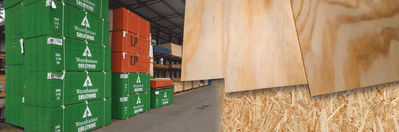 plywood stacks and sheets of acx plywood