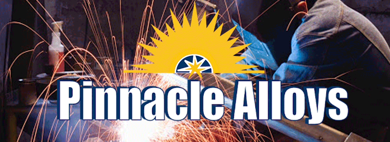 Pinnacle Alloys logo with person in welding helmet welding with sparks flying