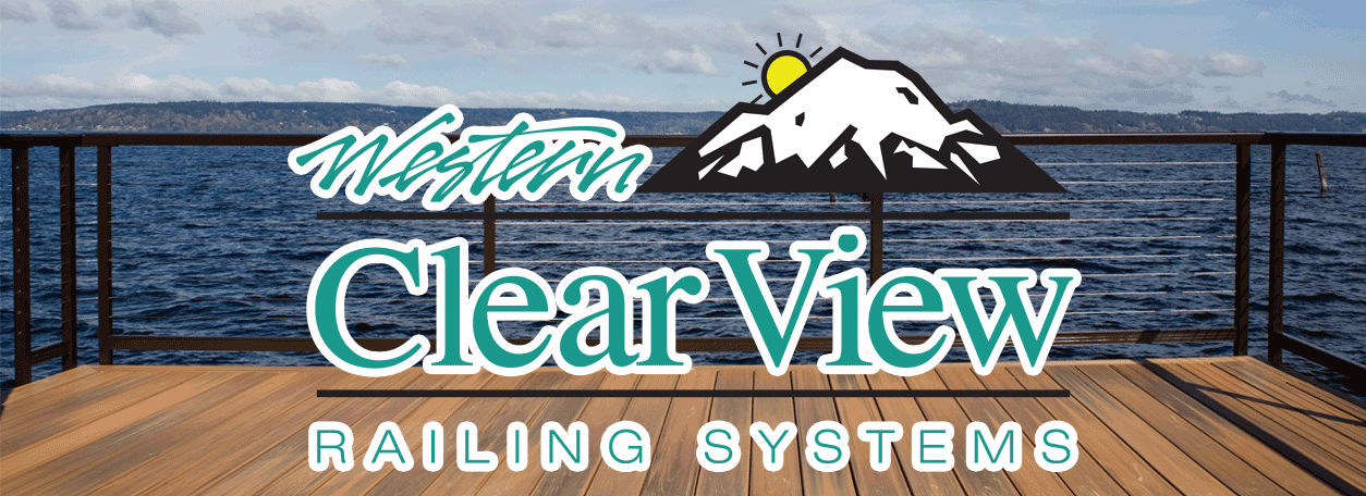 Western Clearview Railing Logo and a rail system in the background