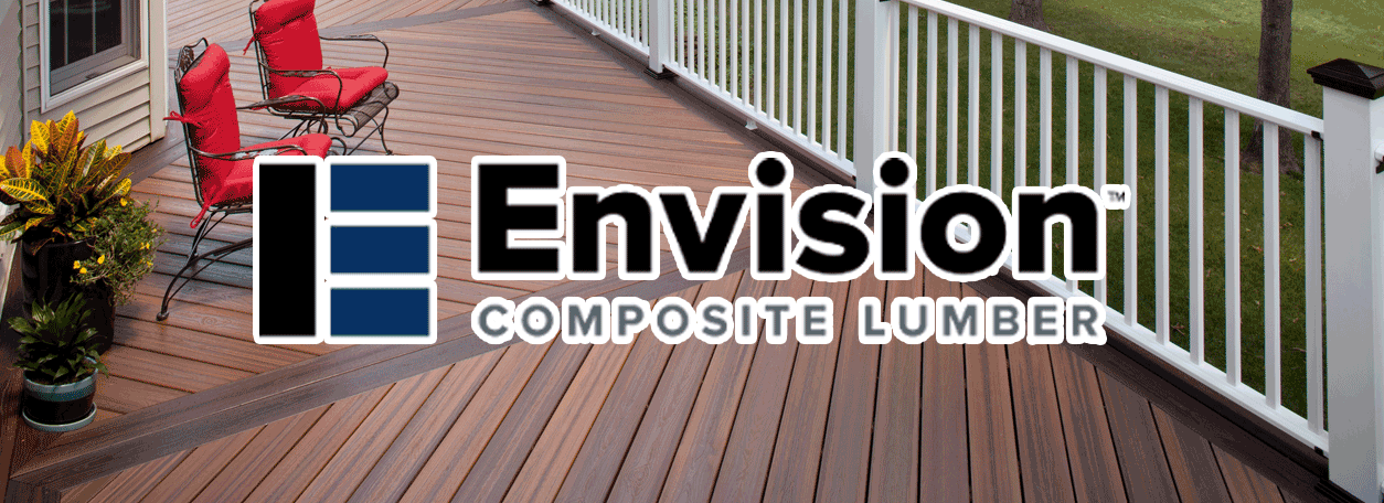 Envision decking logo with a deck and white railing in the background.