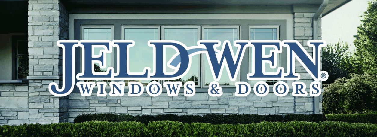 Jeld-Wen Windows and doors logo with a home in the background