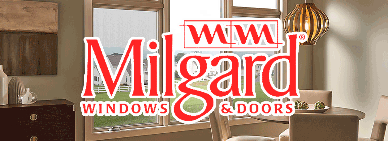 Milgard windows and doors logo with wood window in the background