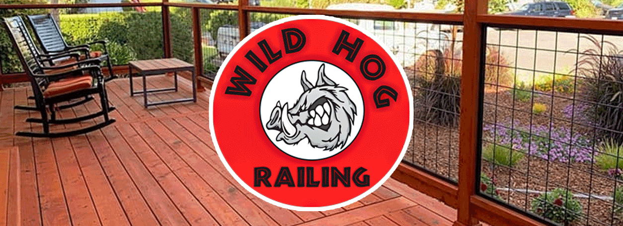 Wild Hog Railing Logo, cedar deck and hog railing