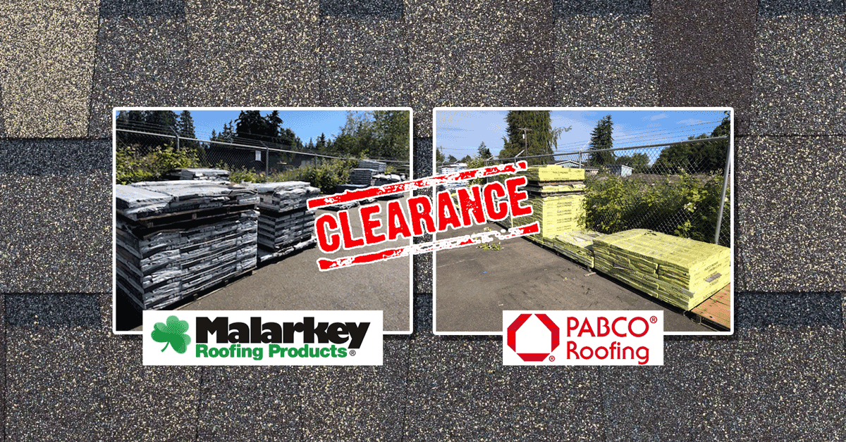 roofing logos of Malarkey and Pabco with stacks of roofing stamped clearance