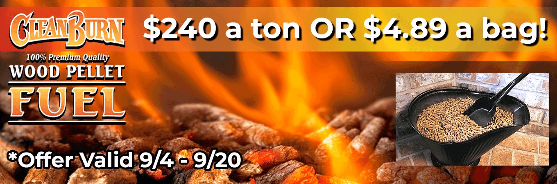 SALE on Clean Burn Wood Pellets!