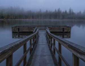 Becky Stinett Foggy Morning on Leland Lake Quilcene WA