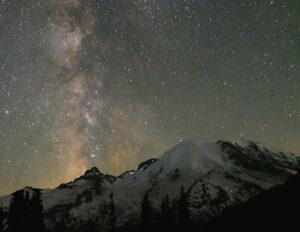 Karen Ludwig Milky Way over Mt Rainier Mt Rainier WA
