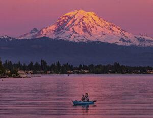 Soham Das Sunset hues on majestic Mt. Rainier Lake Tapps WA