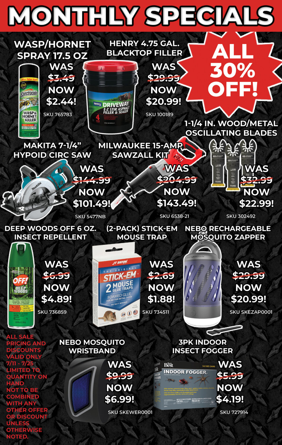 JULY SPECIALS PRODUCT LISTS