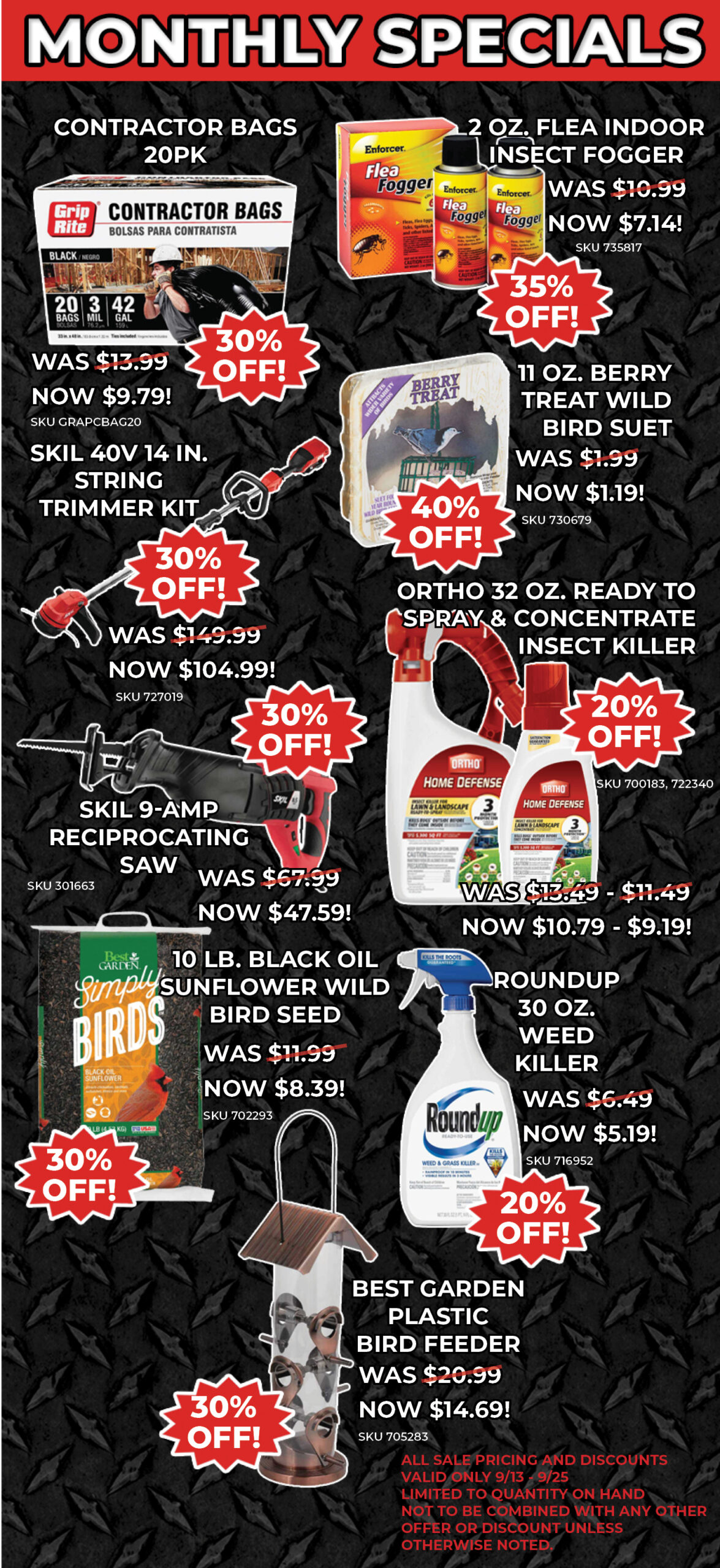 SEPT SPECIALS PRODUCT LISTS